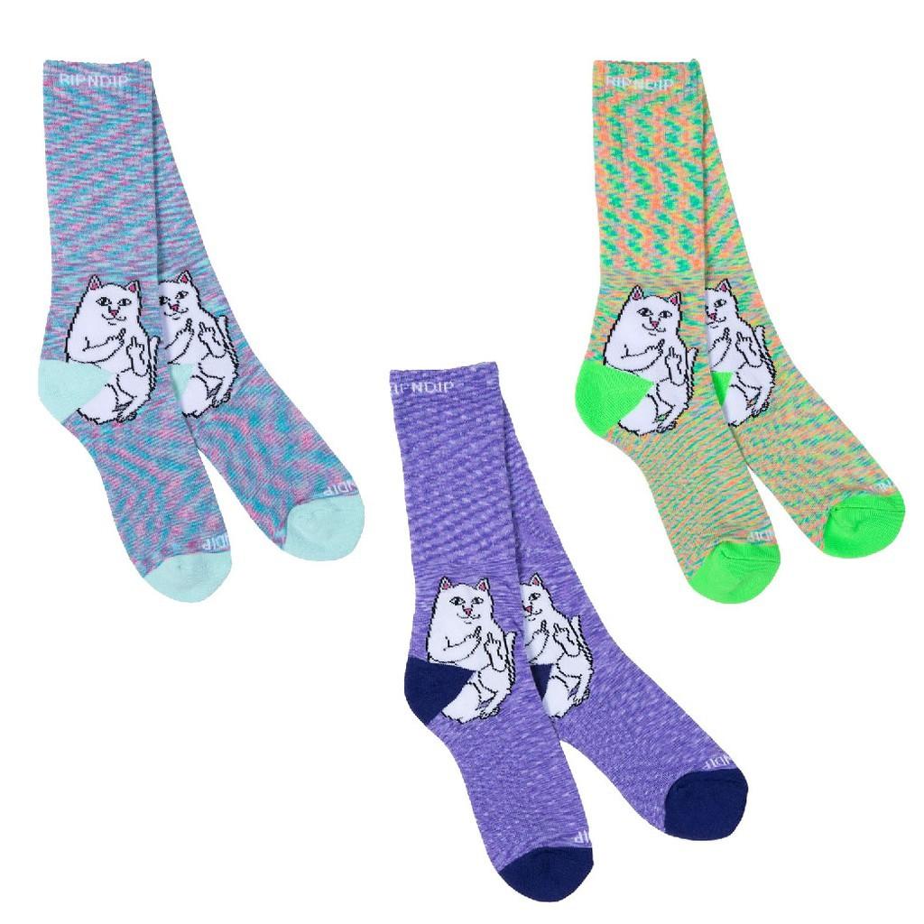 RIPNDIP LORD NERMAL SOCKS 長襪 運動襪 編織 渲染 中指貓 台灣總代理-ALL