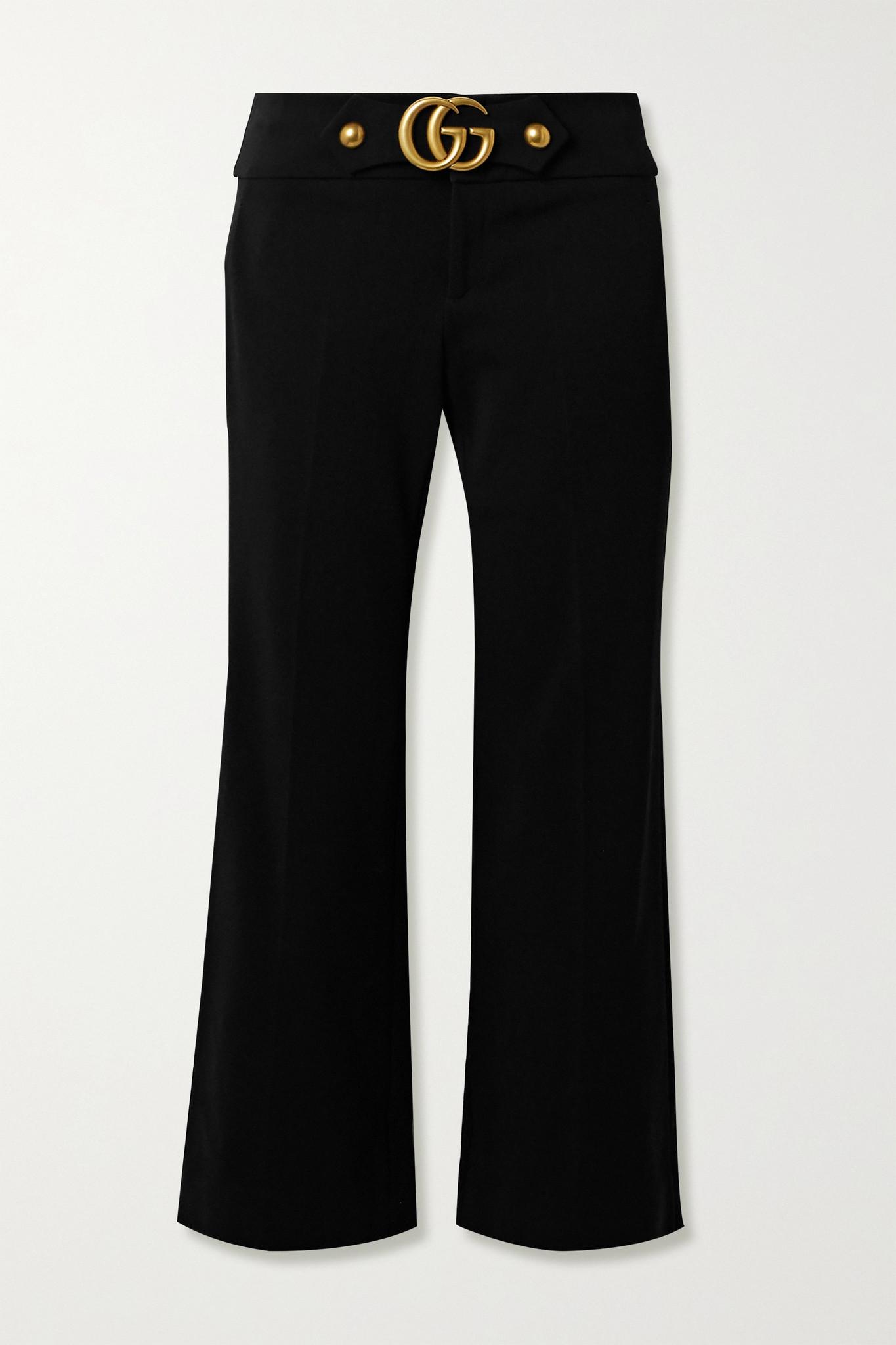 GUCCI - 带缀饰弹力绉纱喇叭裤 - 黑色 - IT46