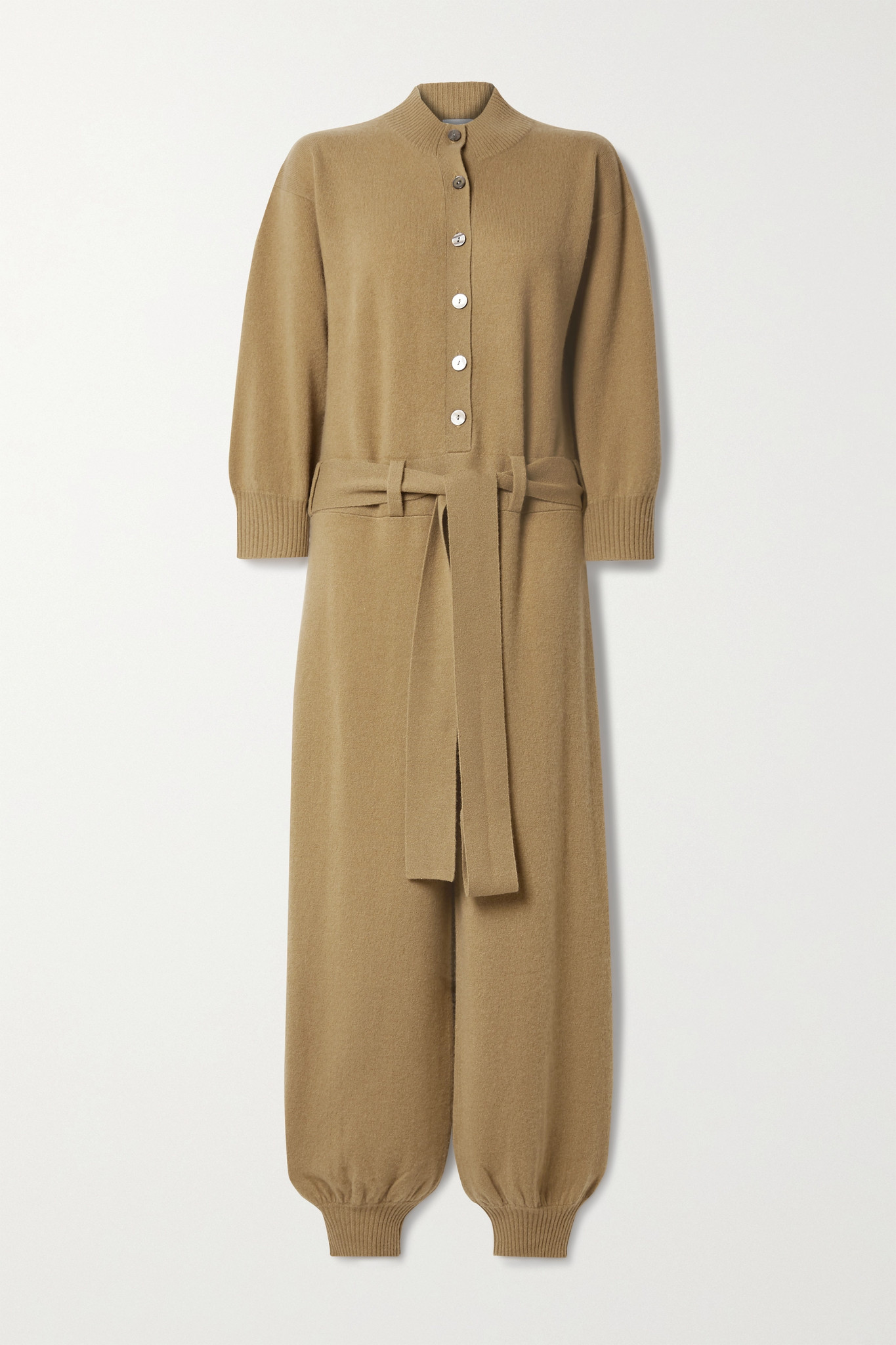 MADELEINE THOMPSON - Thurman 配腰带羊绒连身裤 - 棕色 - large