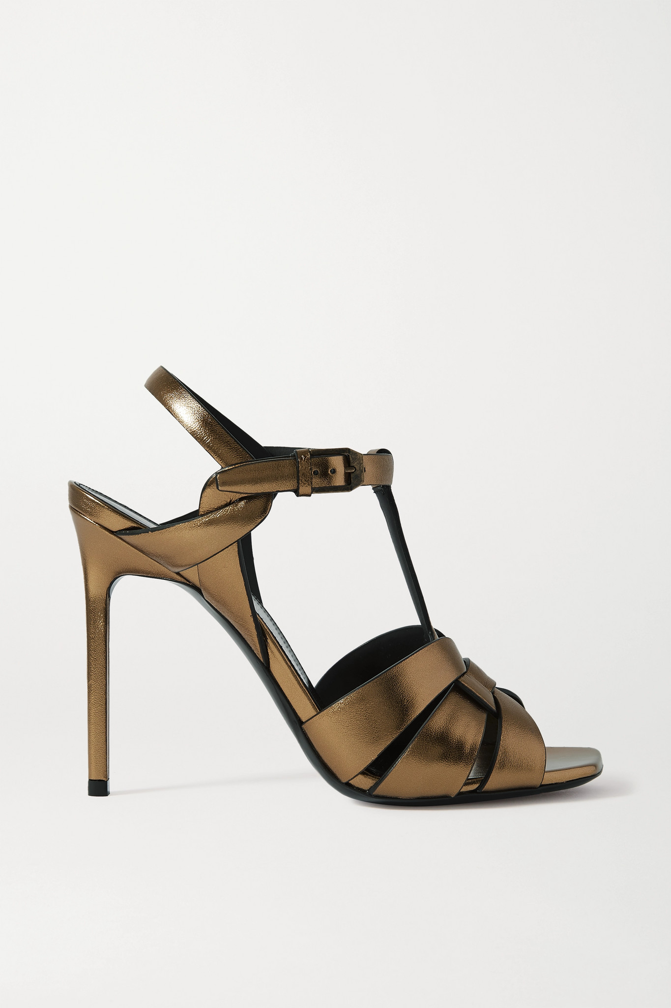 SAINT LAURENT - Catri Woven Metallic Leather Sandals - Gold - IT39