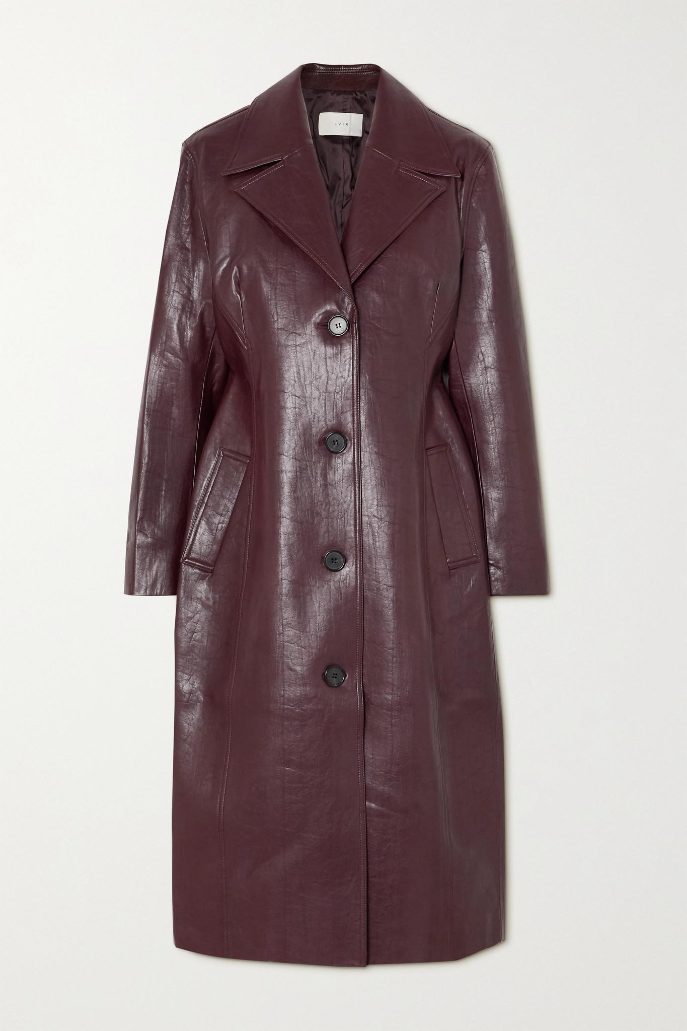 LVIR - Faux Leather Coat - Burgundy - FR38