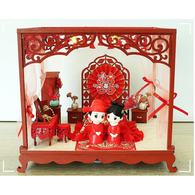 Cutebee Diy小屋 洞房花燭 附玩偶 現貨 微景觀娃娃屋 手工製作小房子模型拼裝LED燈 交換禮物