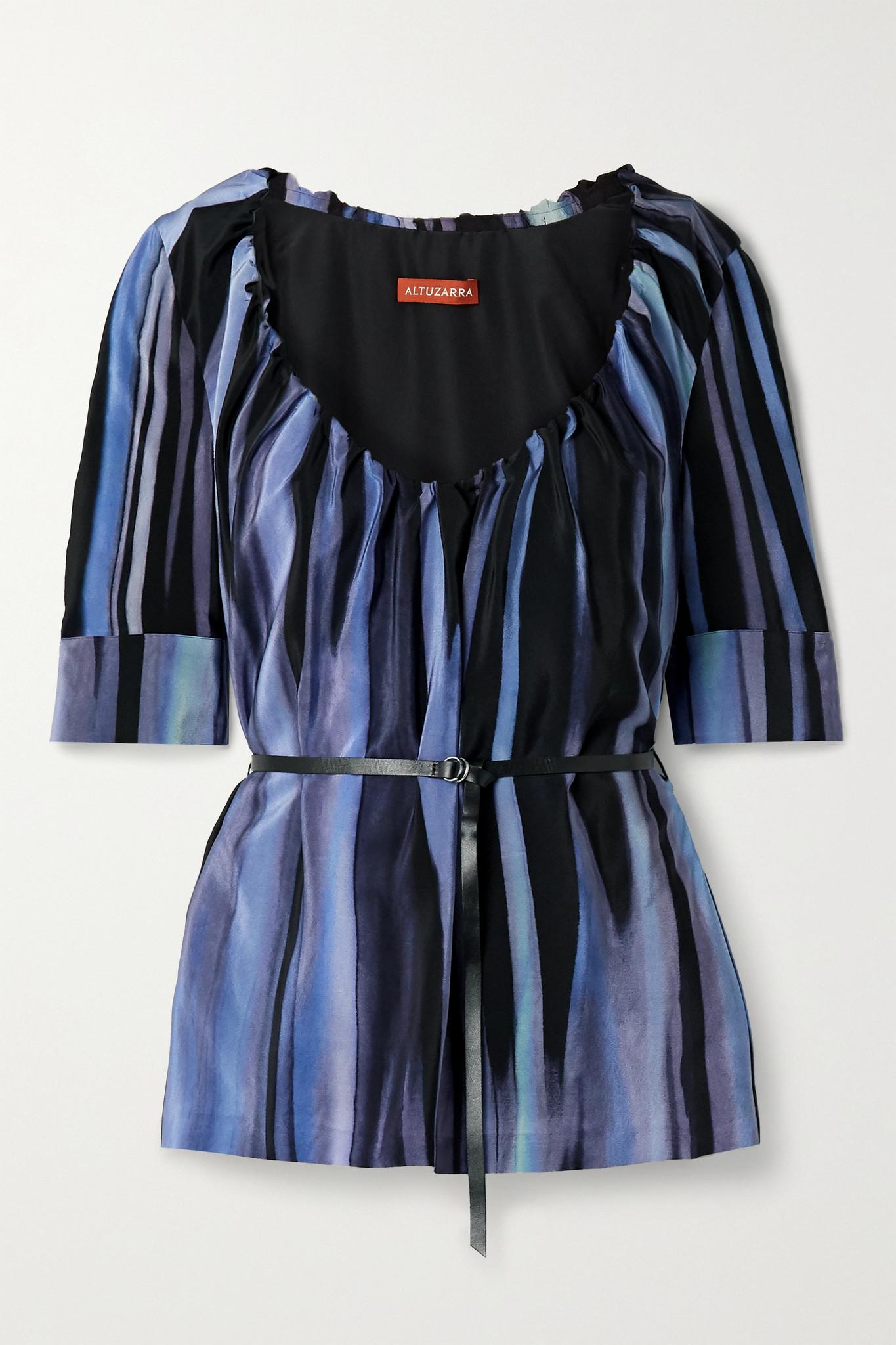 ALTUZARRA - Nika Belted Printed Silk Crepe De Chine Blouse - Blue - FR38