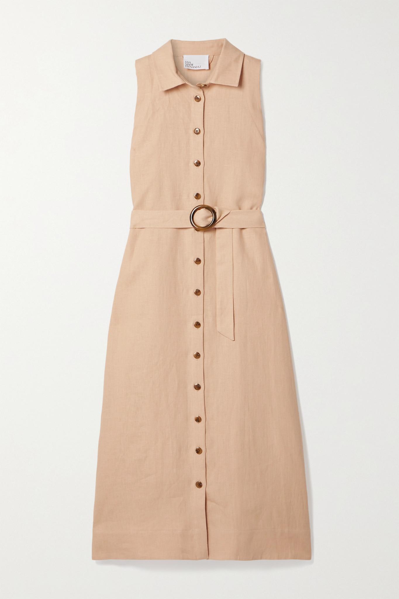 LISA MARIE FERNANDEZ - 【net Sustain】 Alison 亚麻中长连衣裙 - 粉红色 - 1