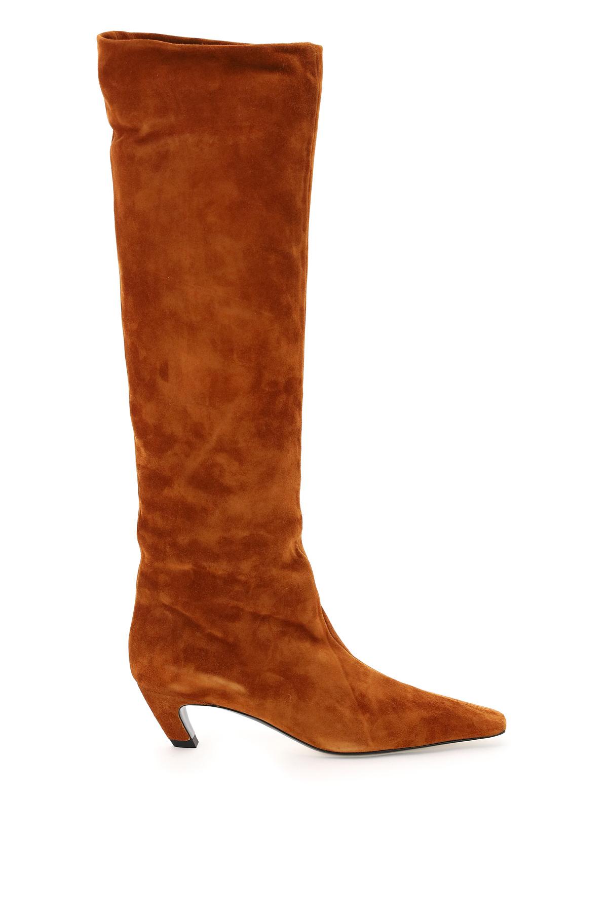 KHAITE DAVIS KNEE-HIGH SUEDE BOOTS 37 Brown, Orange Leather