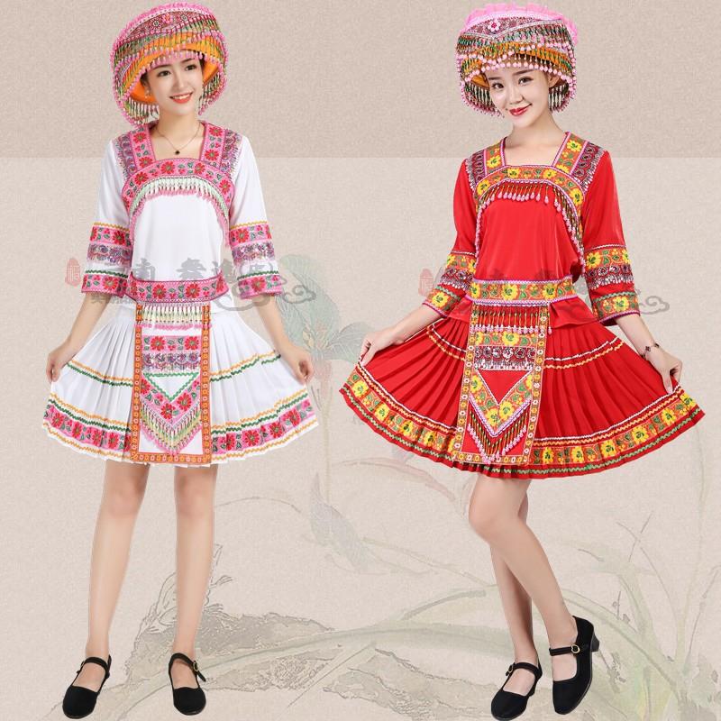 苗族服裝女少數民族服飾貴州云南文山舞蹈彝族成人民族風演出服女