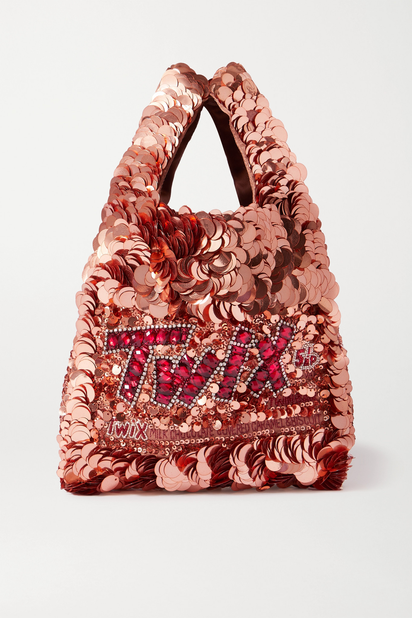 ANYA HINDMARCH - Mini Embellished Sequined Satin Tote - Rose gold - one size