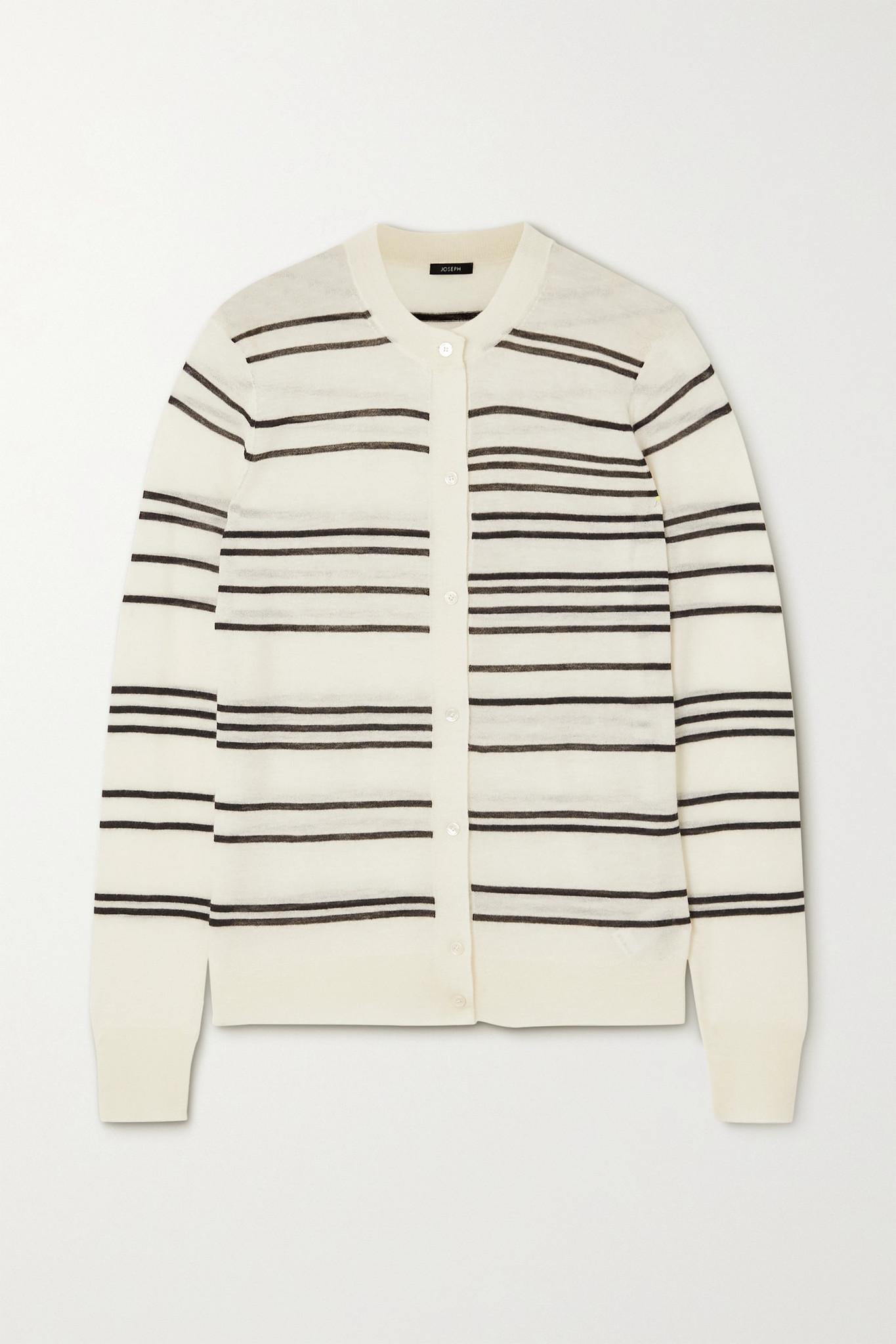 JOSEPH - 条纹羊绒开襟衫 - 象牙色 - x small