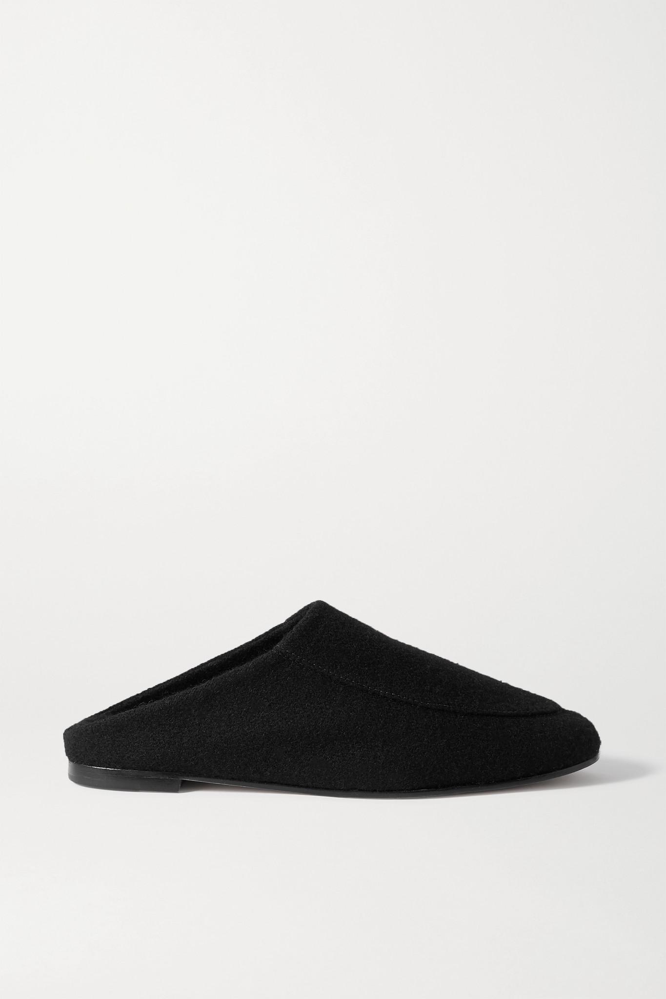 PORTE & PAIRE - 羊毛皮衬里毛毡拖鞋 - 黑色 - IT39.5