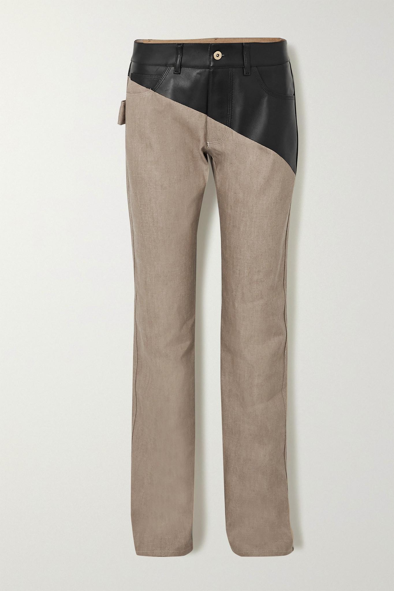 BOTTEGA VENETA - Leather-paneled High-rise Straight-leg Jeans - Neutrals - IT40