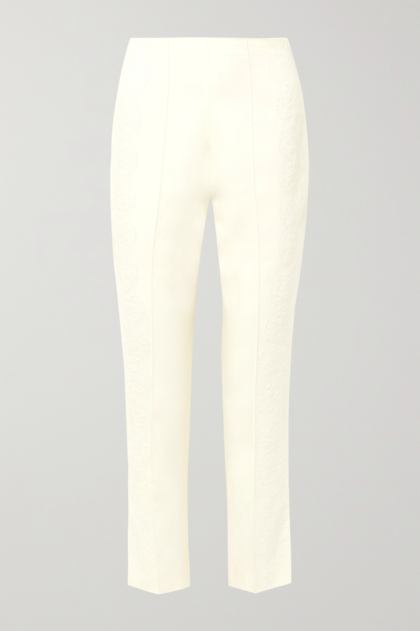 DANIELLE FRANKEL - Chantilly Lace-trimmed Silk And Wool-blend Tapered Pants - Ivory - US2