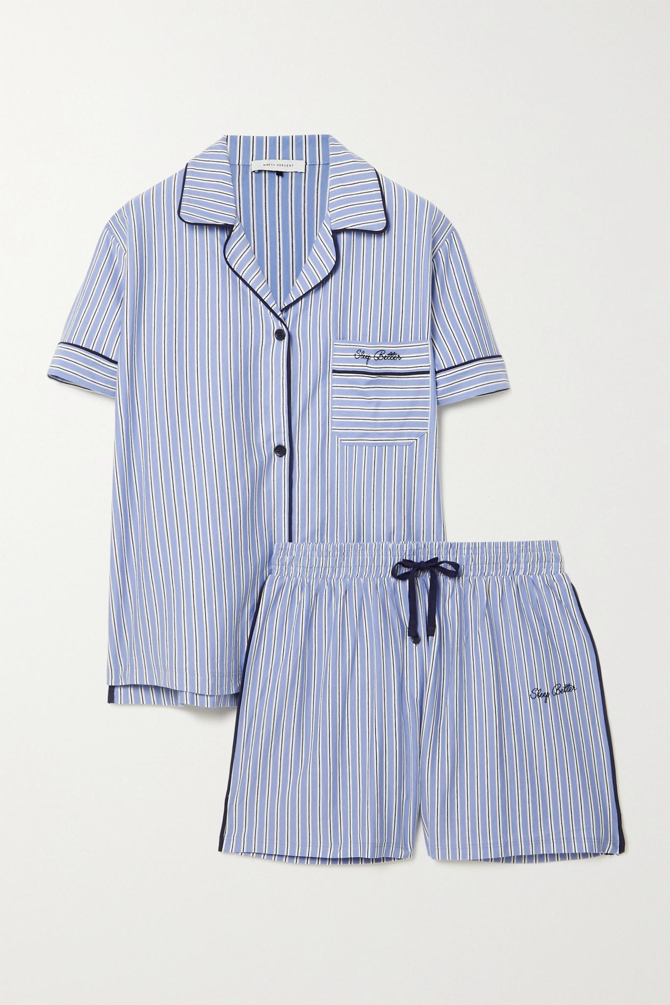 NINETY PERCENT - 【net Sustain】刺绣条纹有机纯棉平纹布睡衣套装 - 蓝色 - x small