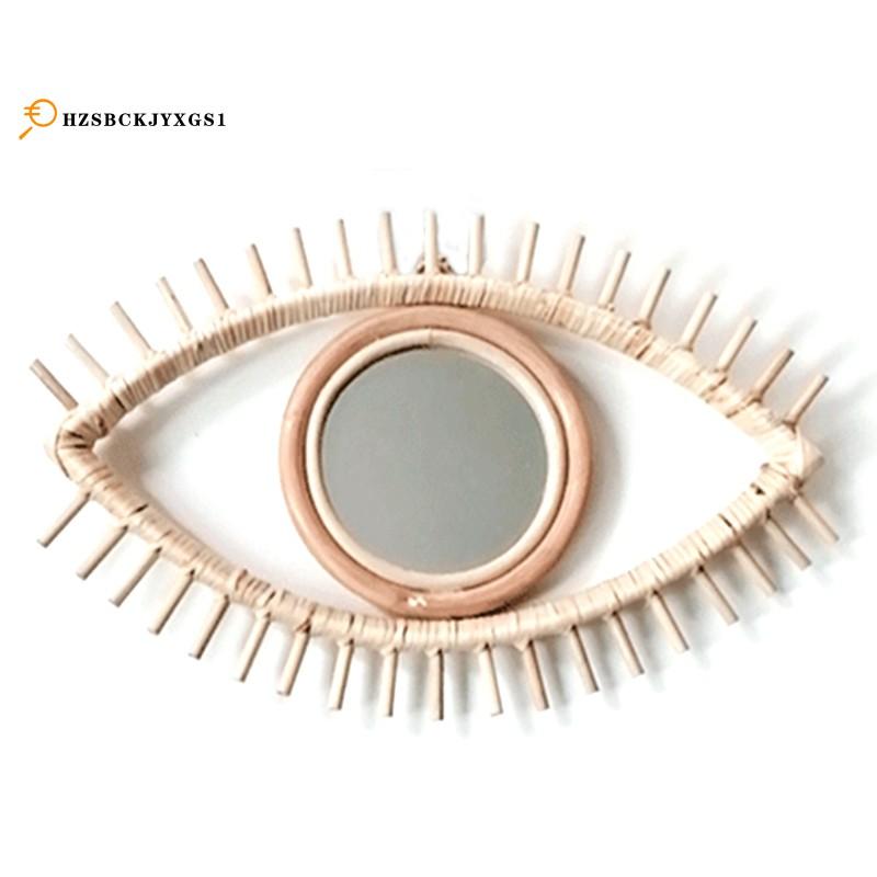 眼形裝飾鏡藤製創新藝術裝飾圓形化妝鏡梳妝台浴室壁掛鏡工藝品