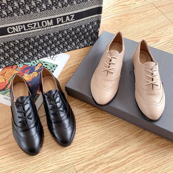 小皮鞋.MIT韓系率性牛津雕花繫帶平底鞋.白鳥麗子