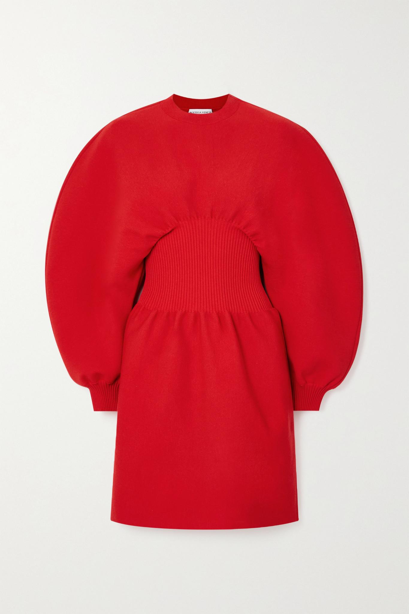 BOTTEGA VENETA - 罗纹羊毛混纺迷你连衣裙 - 红色 - small
