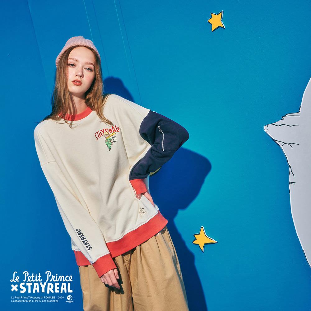 STAYREAL x Le Petit Prince 小王子拼色小口袋厚棉T