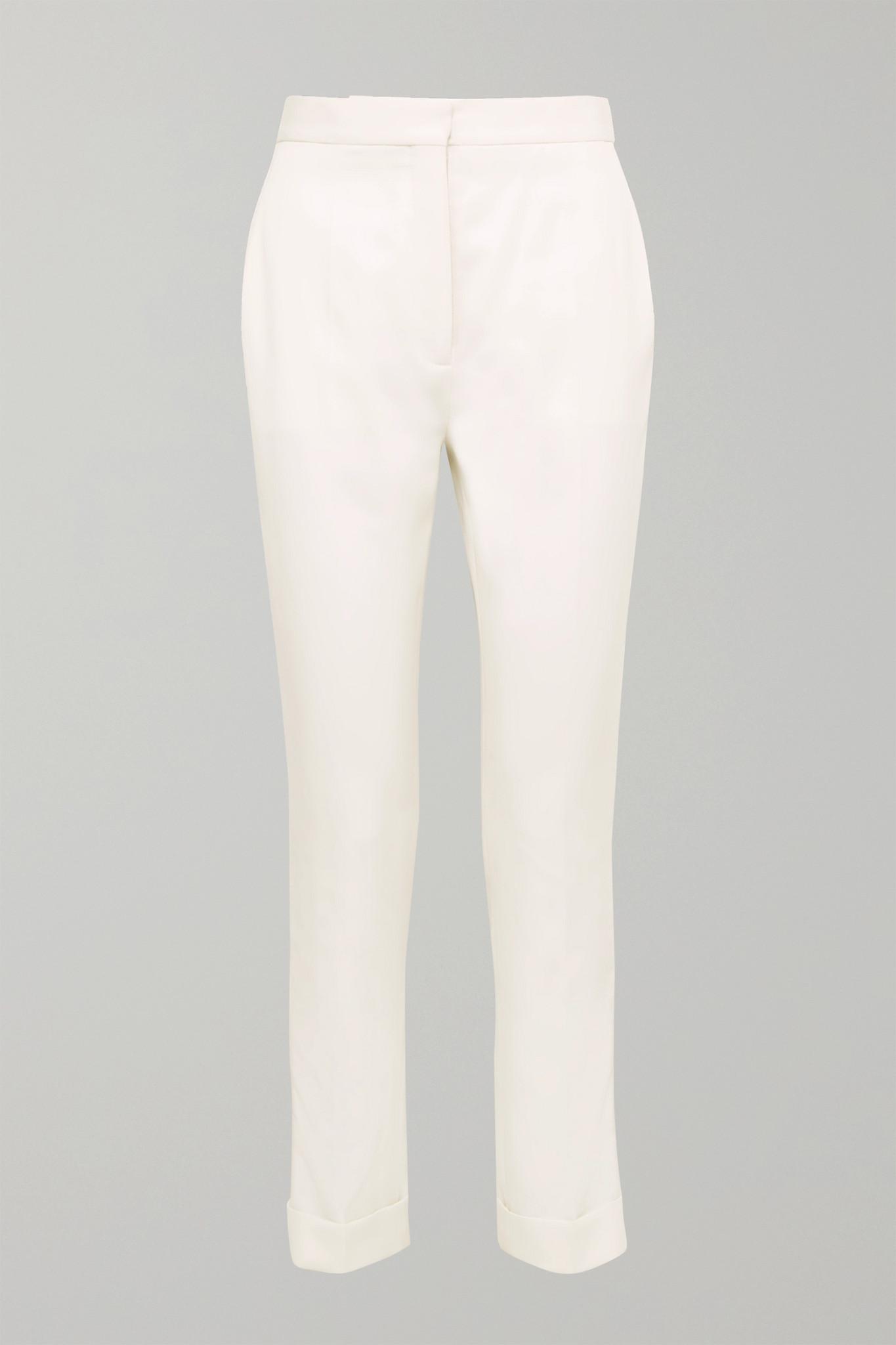 STELLA MCCARTNEY - Satin-trimmed Grain De Poudre Wool Pants - Ivory - IT40