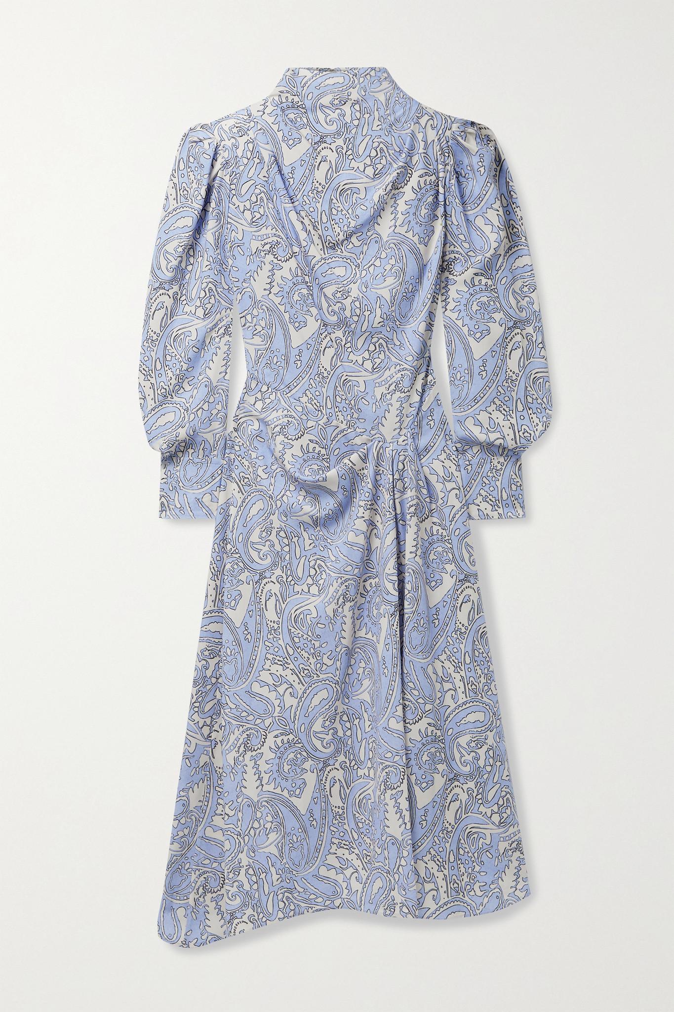ISABEL MARANT - Berni 垂坠印花莱赛尔纤维斜纹布中长连衣裙 - 蓝色 - FR34