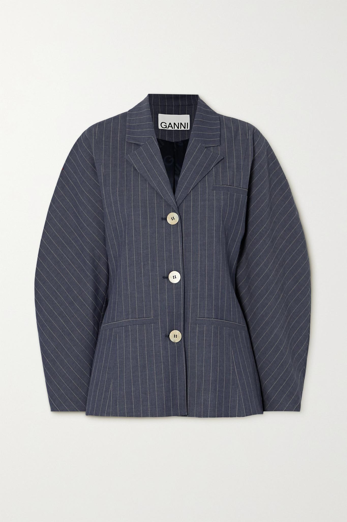 GANNI - Pinstriped Twill Blazer - Blue - DK36