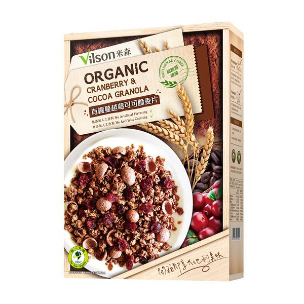 【米森 vilson】有機蔓越莓可可脆麥片 (350g/盒)