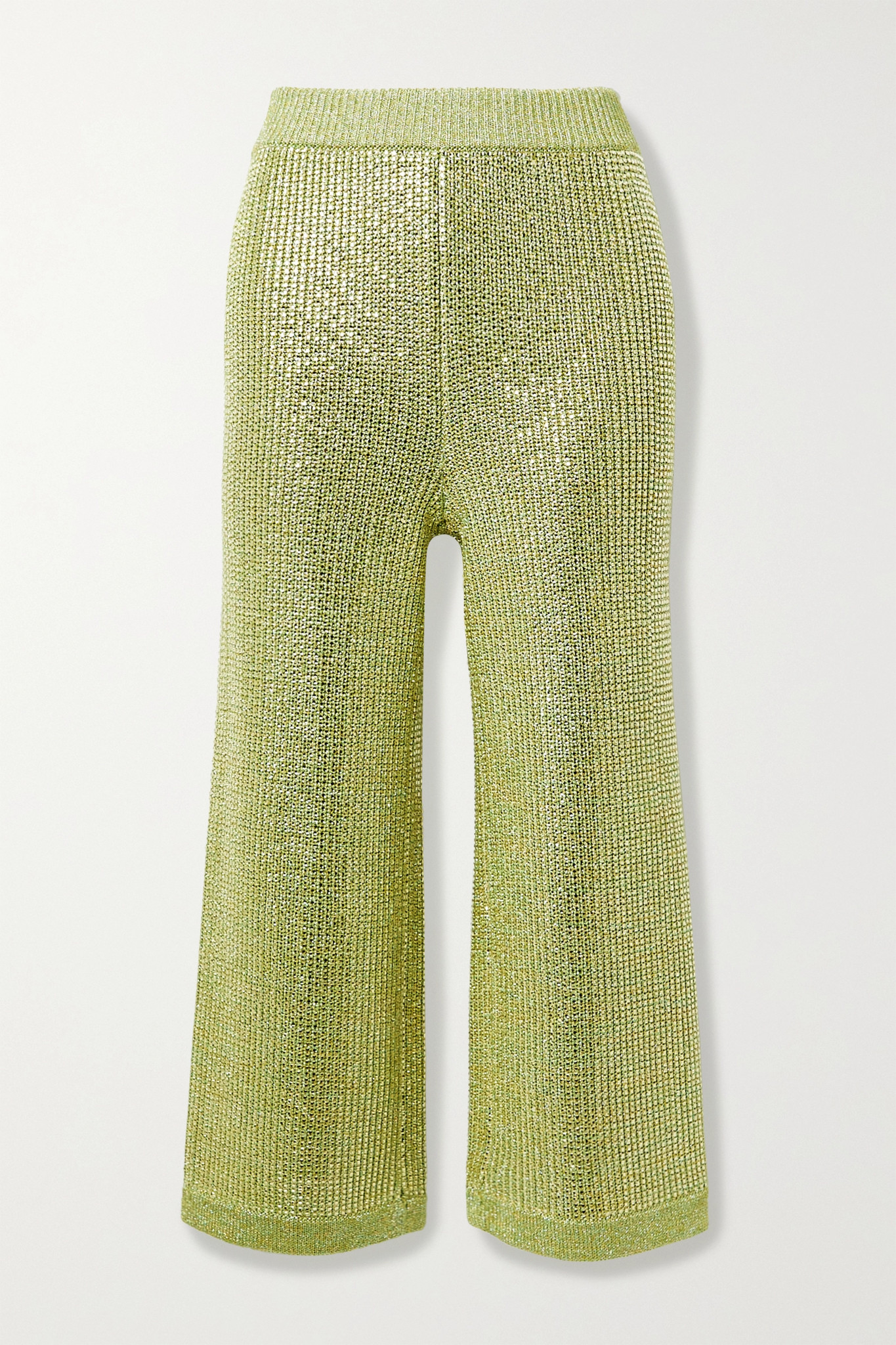 GUCCI - Cropped Crystal-embellished Metallic Knitted Wide-leg Pants - Yellow - x small