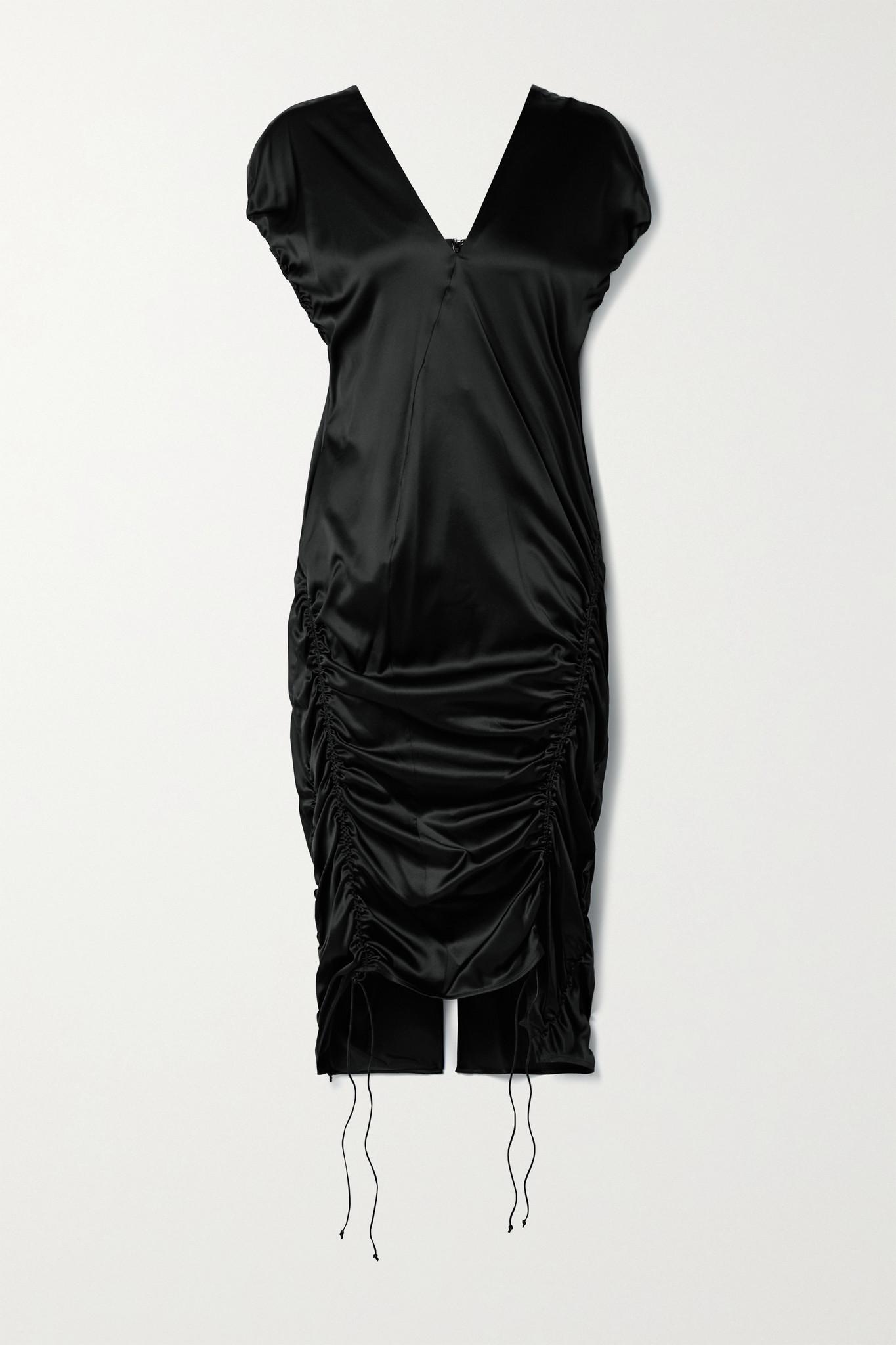 HELMUT LANG - 褶饰真丝混纺缎布中长连衣裙 - 黑色 - US8