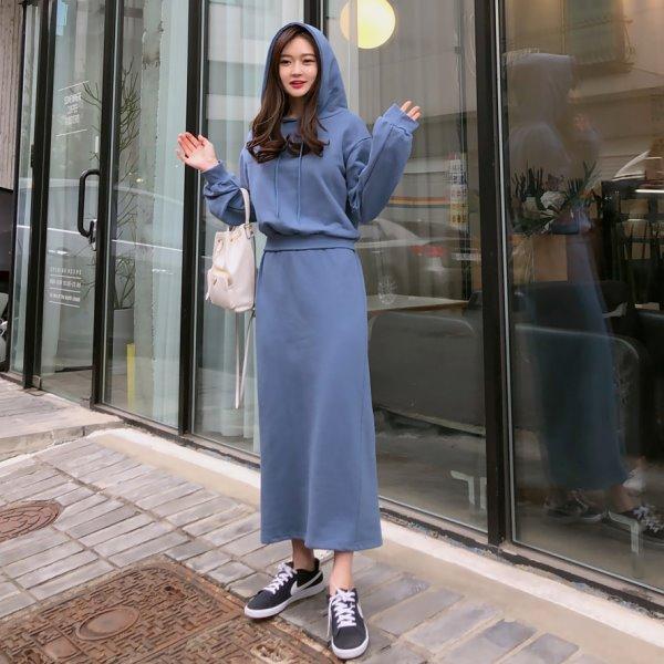 韓國製.街頭簡約素色拼接連帽長洋裝.白鳥麗子