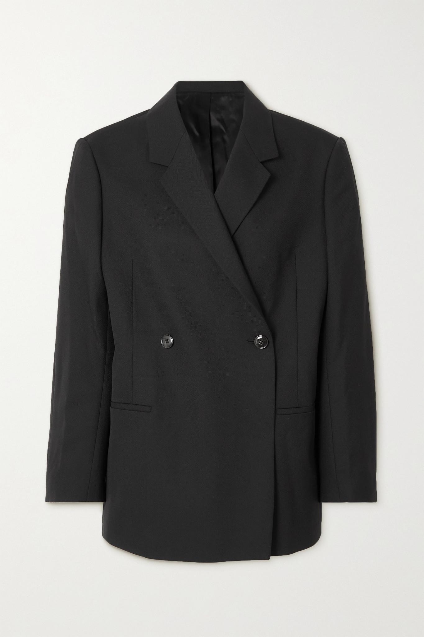 """TOTÊME - """"loreo"""" 大廓形双排扣梭织西装外套 - 黑色 - FR38"""