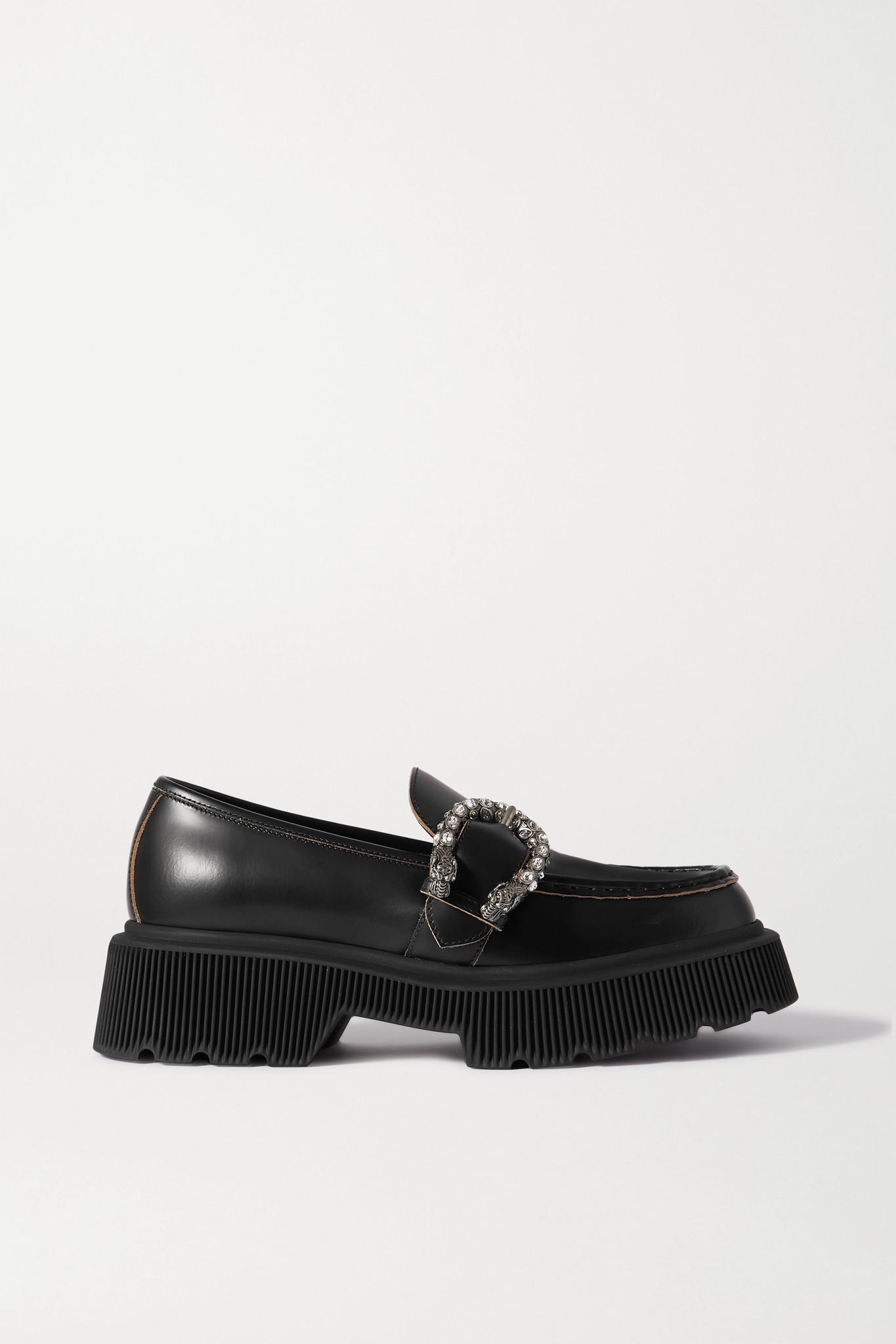 GUCCI - Hunder Crystal-embellished Leather Platform Loafers - Black - IT39