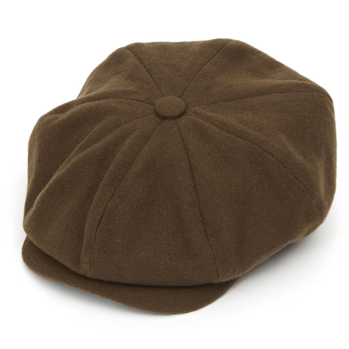 Joshua Ellis Tweed 8 Piece Baker Boy Flat Cap-Khaki-L