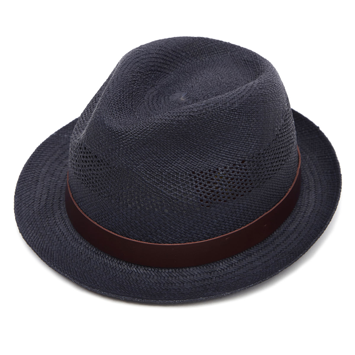 Carnaby Trilby Panama Hat - Navy Perforated 61