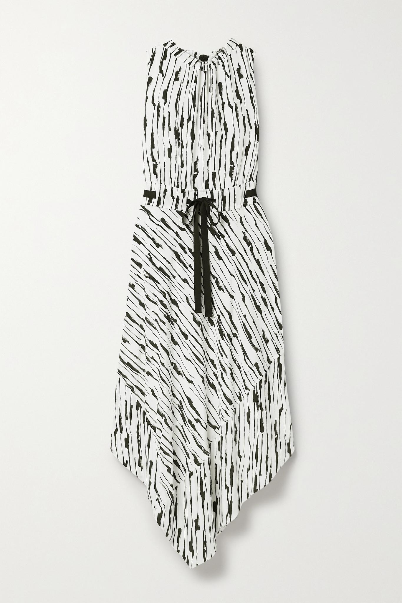 JASON WU - 不对称印花真丝绉纱连衣裙 - 白色 - US6