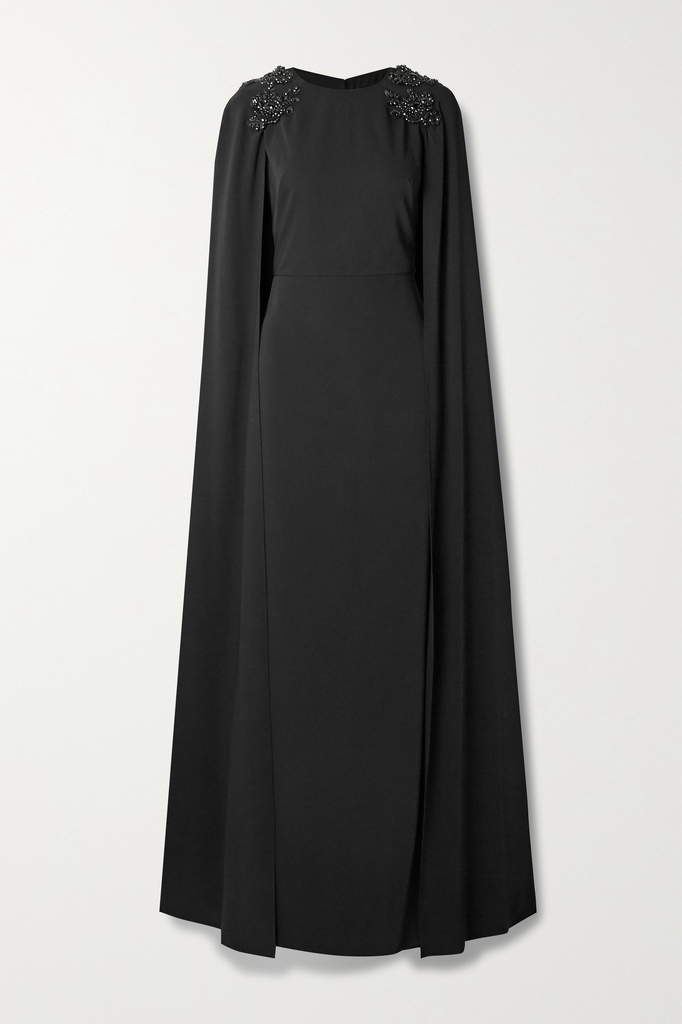 MARCHESA NOTTE - Cape-effect Embellished Crepe Gown - Black - US4
