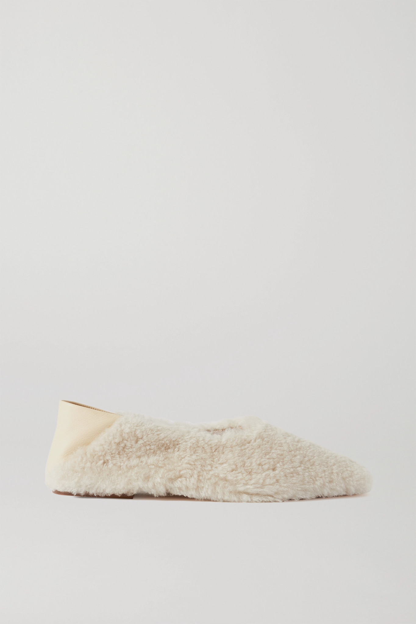 PORTE & PAIRE - 羊毛皮皮革折叠式后跟乐福鞋 - 象牙色 - IT38