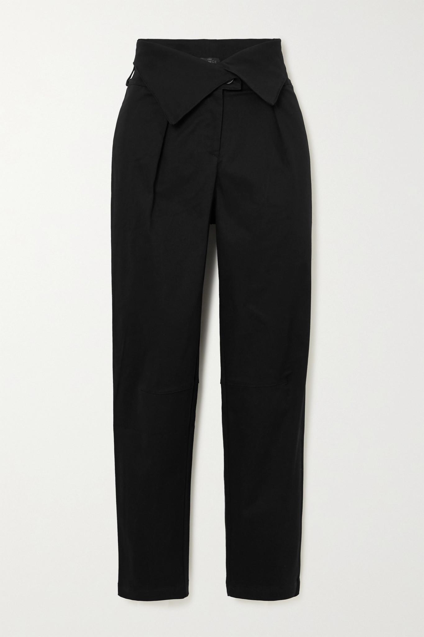 THE RANGE - 弹力棉质斜纹布锥形裤 - 黑色 - x small