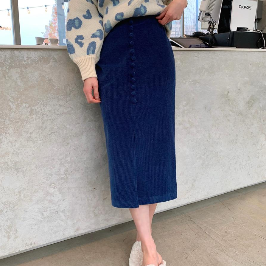 【限量現貨供應】韓國製.簡約氣質素面開衩排扣包臀高腰長裙.白鳥麗子