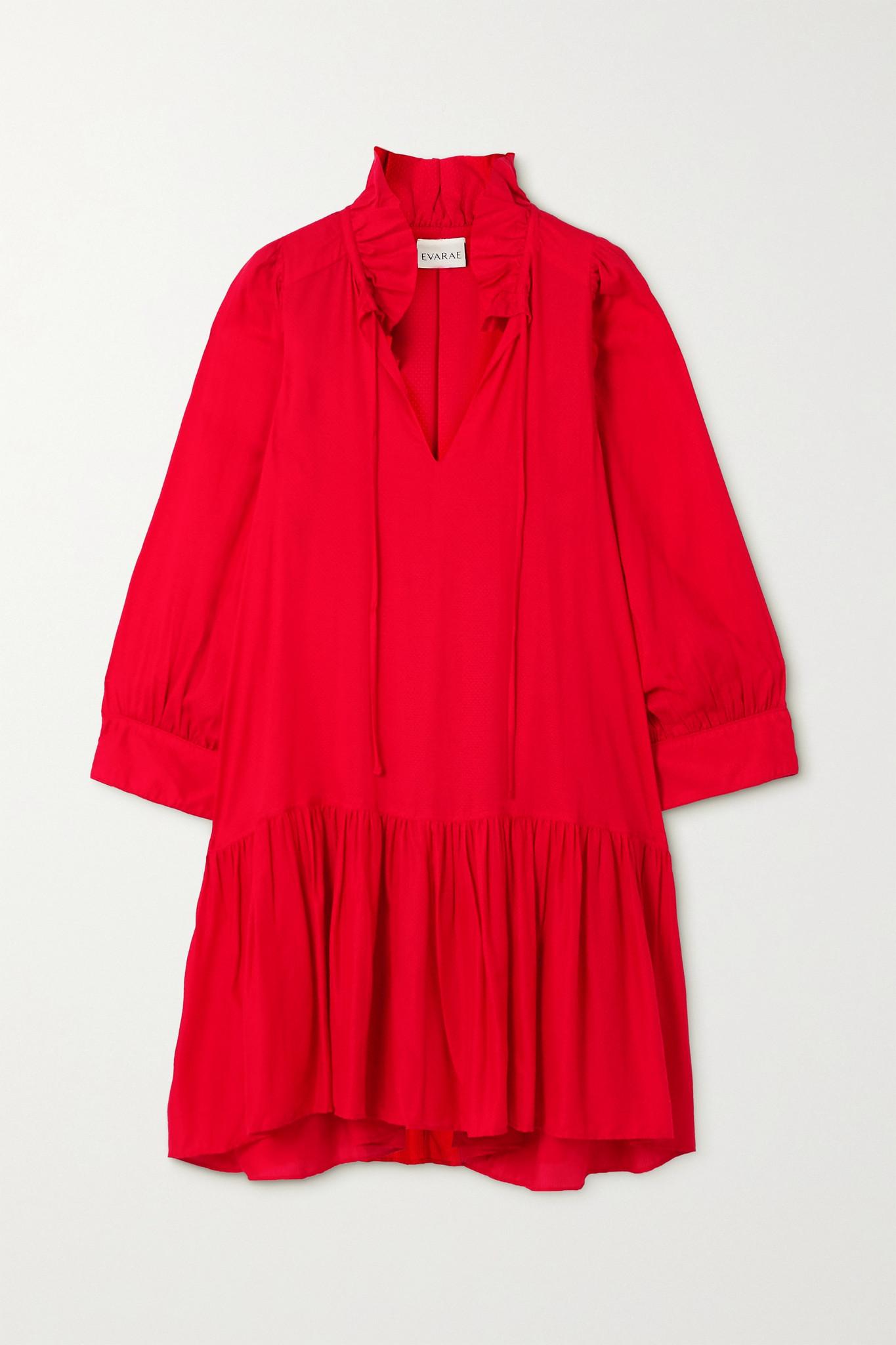 EVARAE - 【net Sustain】marais 荷叶边天丝莱赛尔纤维迷你连衣裙 - 红色 - large