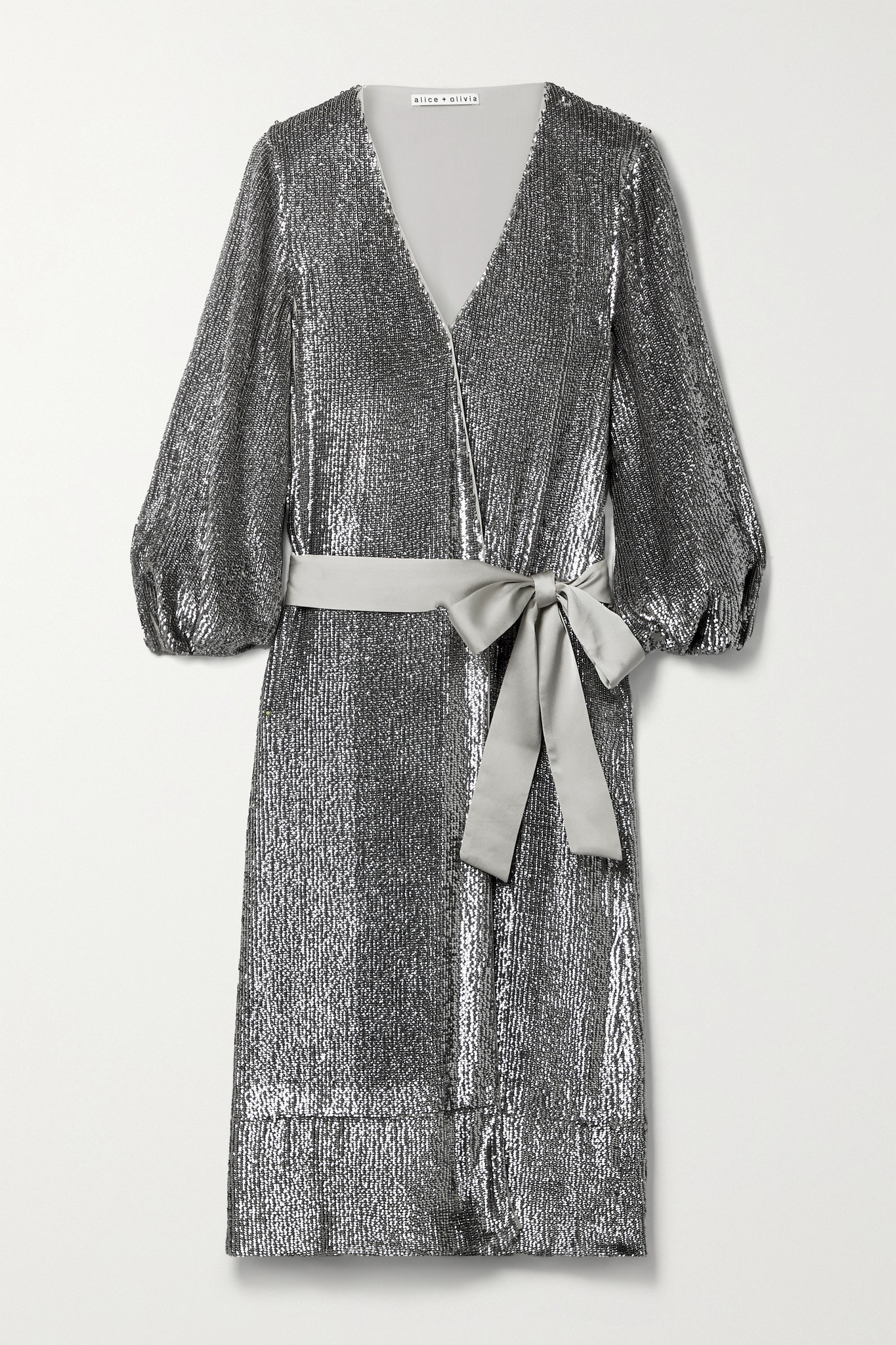 ALICE + OLIVIA - Anne Satin-trimmed Sequined Crepe De Chine Wrap Midi Dress - Silver - US10