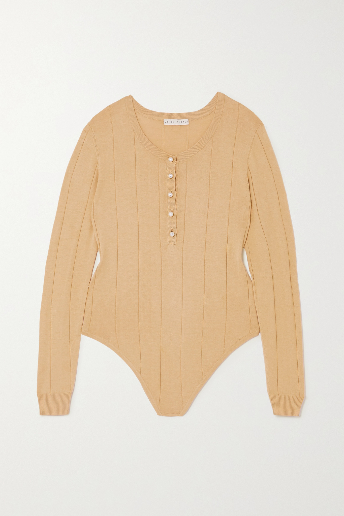 USISI SISTER - Faux Pearl-embellished Ribbed Cotton-blend Bodysuit - Brown - small