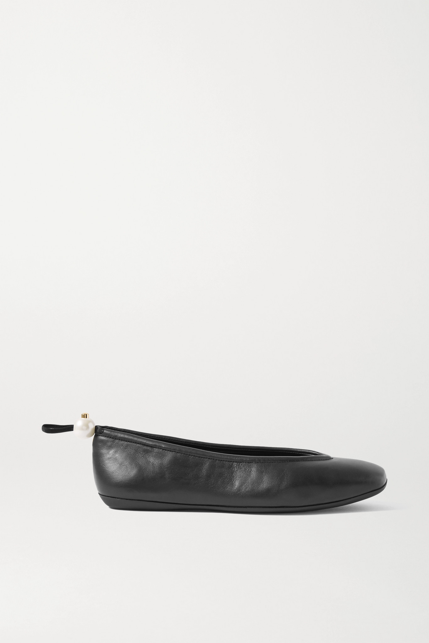 NICHOLAS KIRKWOOD - Delfi Faux Pearl-embellished Leather Ballet Flats - Black - IT39.5