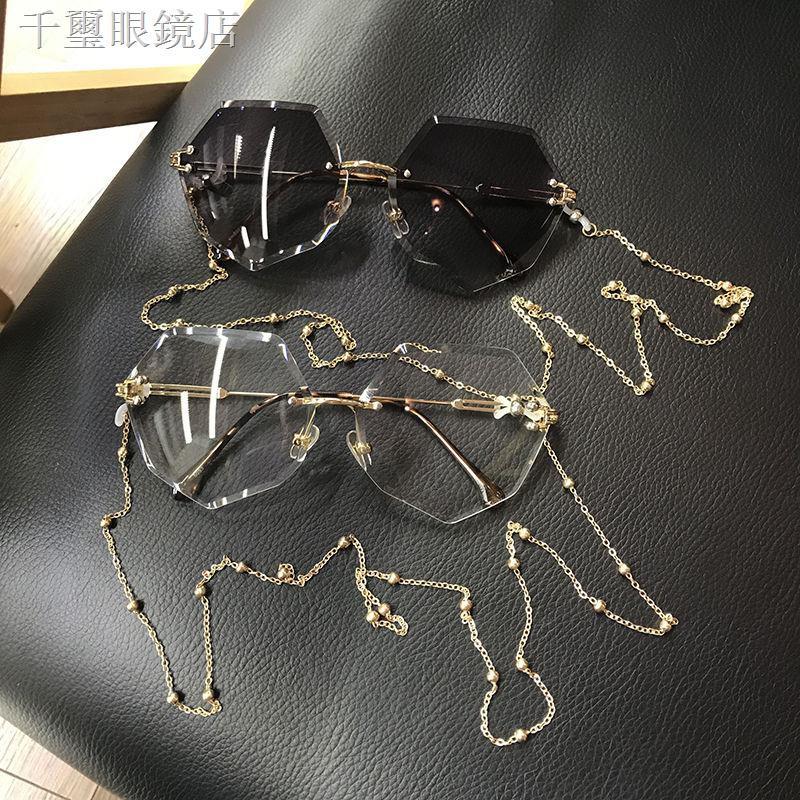 ✇▪✣多邊形帶鏈條眼鏡海洋色復古原宿遮陽墨鏡女ins眼鏡韓版潮太陽鏡
