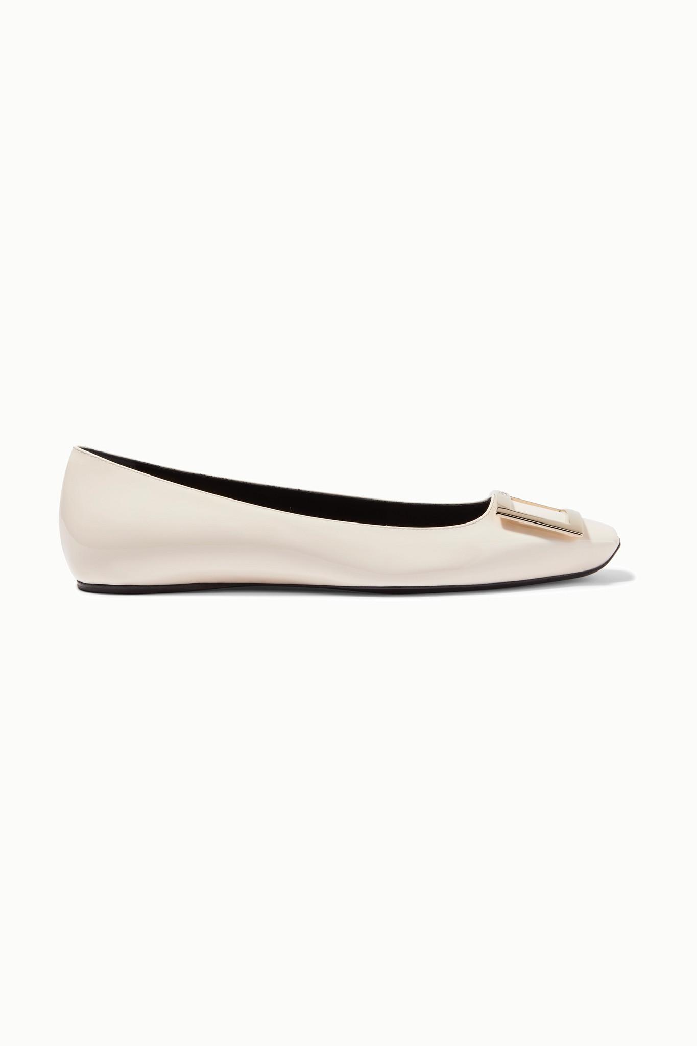 ROGER VIVIER - Trompette Bellerine Patent-leather Ballet Flats - White - IT38.5