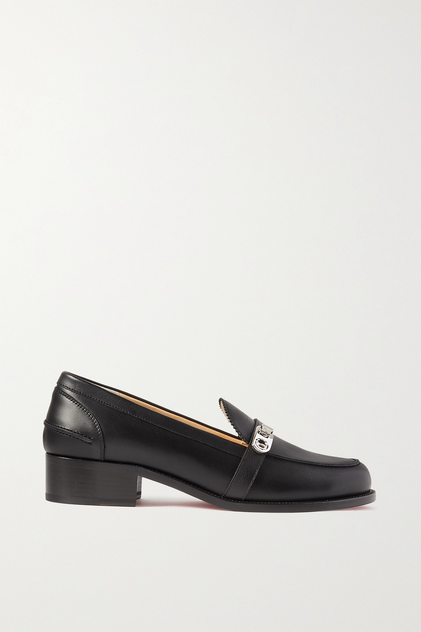CHRISTIAN LOUBOUTIN - Lock Me Moc 45 Embellished Leather Loafers - Black - IT41