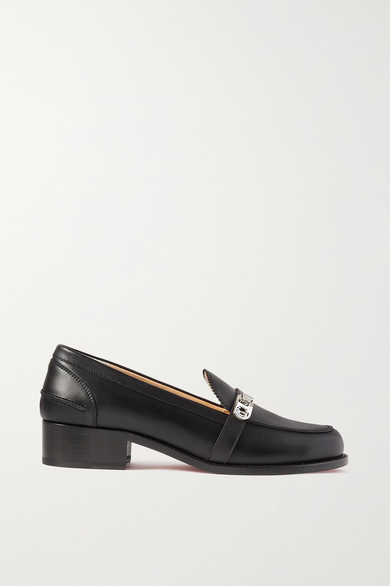 CHRISTIAN LOUBOUTIN - Lock Me Moc 45 Embellished Leather Loafers - Black - IT41
