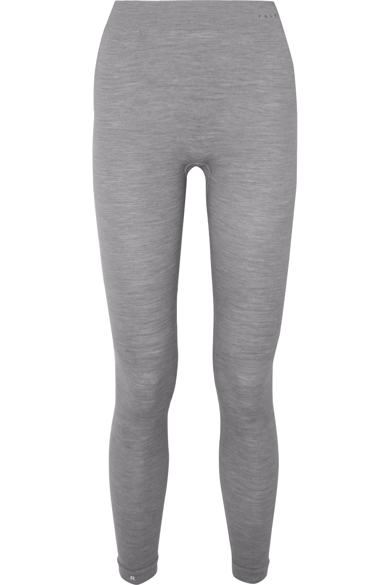 FALKE ERGONOMIC SPORT SYSTEM - Paneled Technical Stretch Wool-blend Leggings - Gray - large