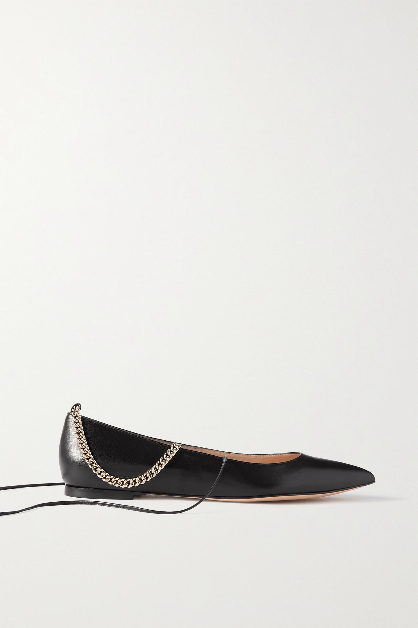 GIANVITO ROSSI - 链条缀饰皮革尖头平底鞋 - 黑色 - IT40