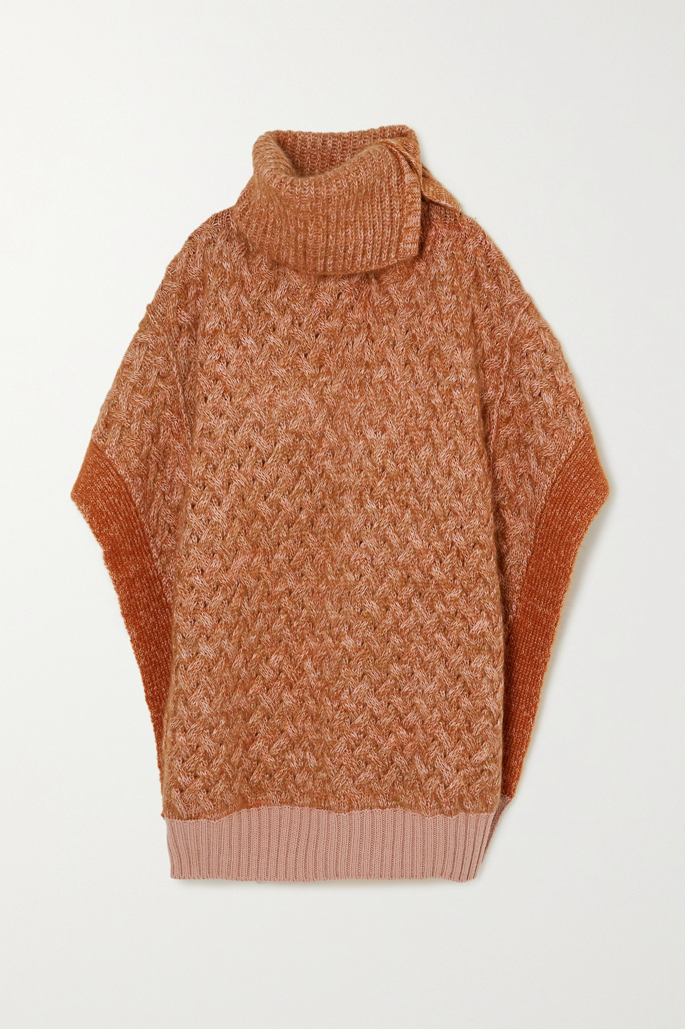 CHLOÉ - Mélange Cable-knit Wool-blend Poncho - Neutrals - medium