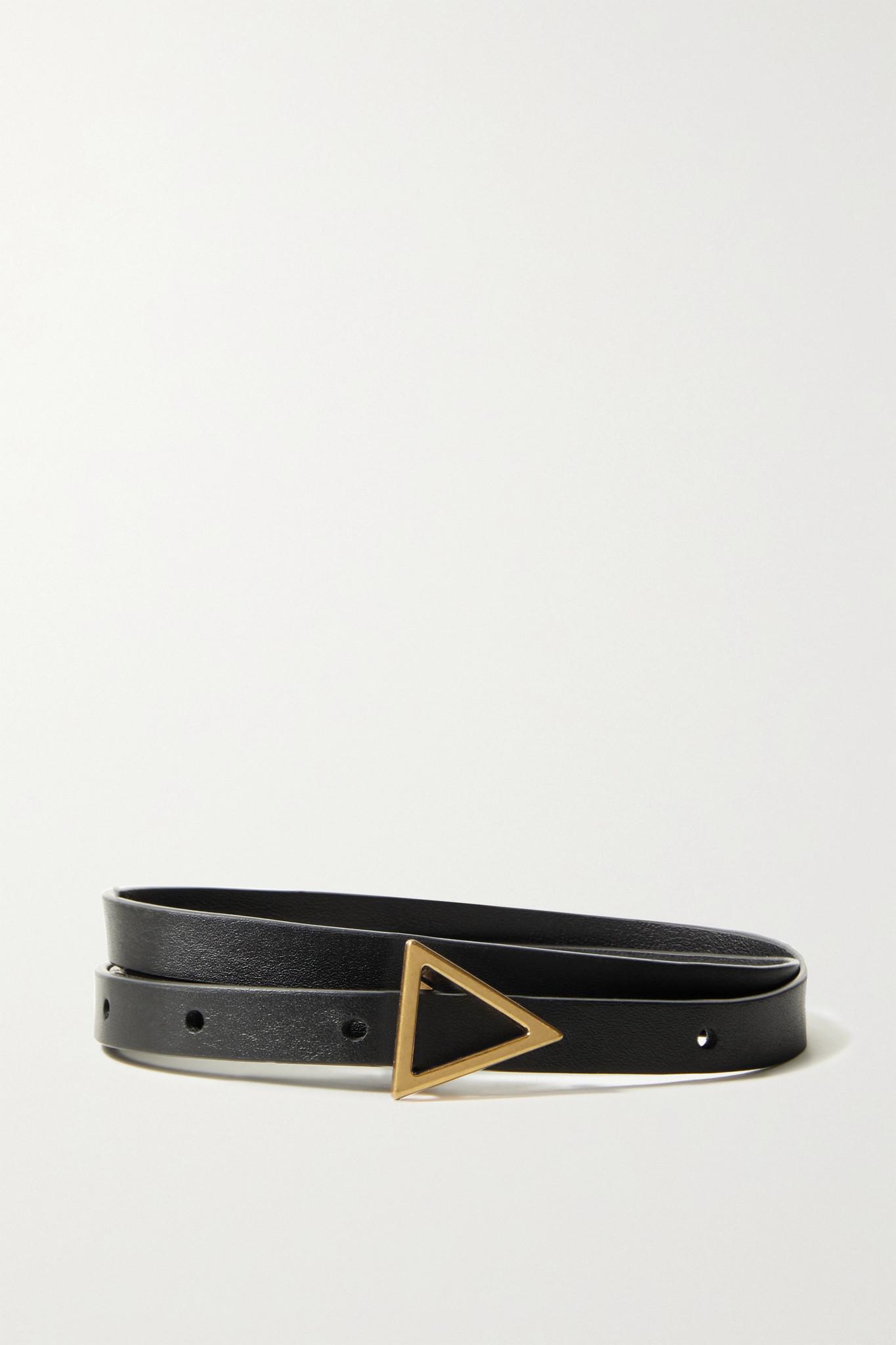 BOTTEGA VENETA - 皮革腰带 - 黑色 - 75