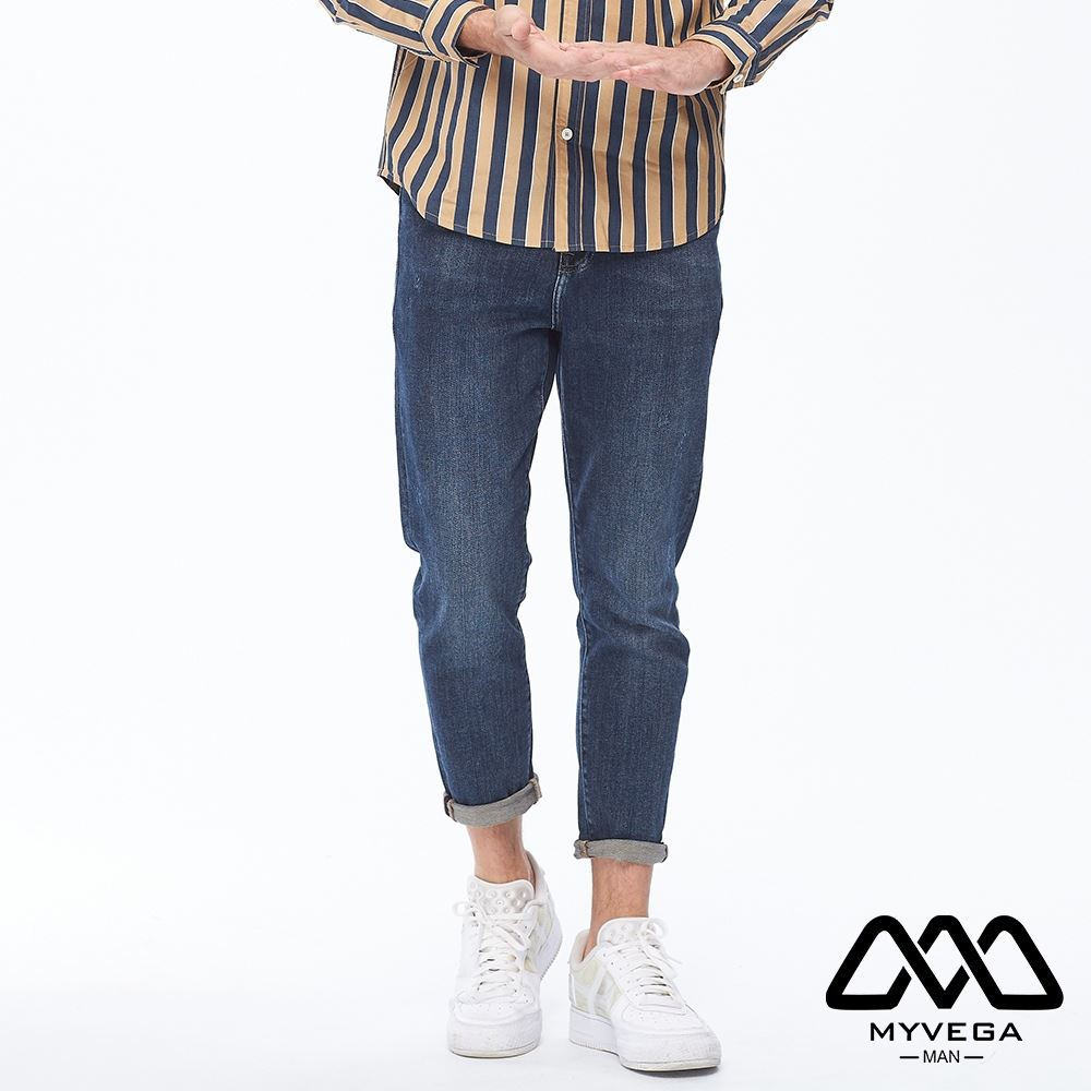 【麥雪爾】MAN古著石洗刷紋牛仔褲-深藍
