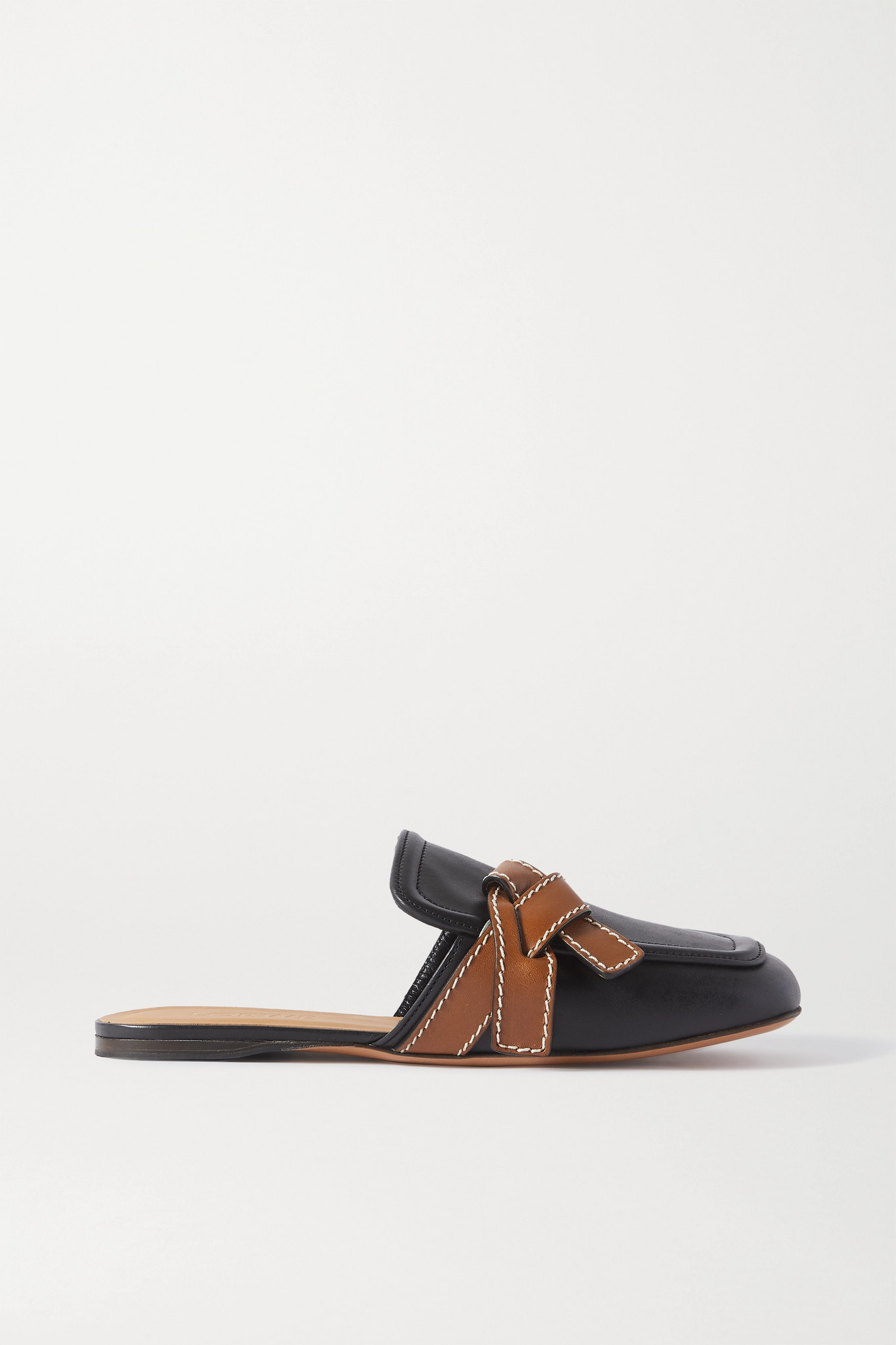 LOEWE - Gate Two-tone Topstitched Leather Loafers - Black - IT37